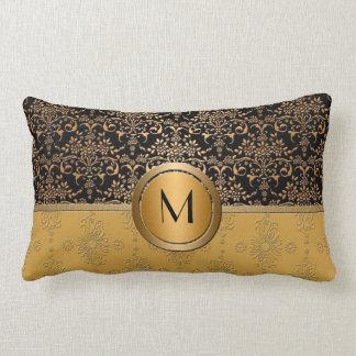 Fancy Monogram Gold and Black Damask Design Lumbar Pillow