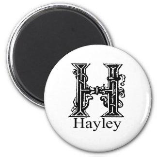 Fancy Monogram: Hayley 2 Inch Round Magnet