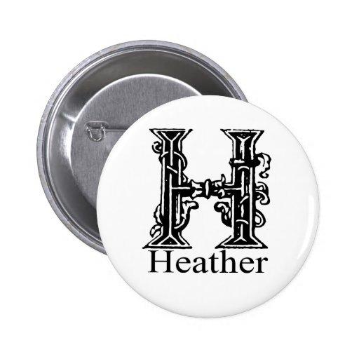 Fancy Monogram: Heather 2 Inch Round Button