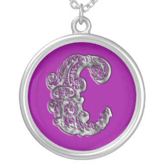 Fancy Monogram Initial C Silver Necklace