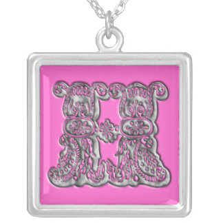 Fancy Monogram Initial H Silver Necklace