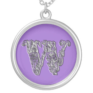 Fancy Monogram Initial W Silver Necklace
