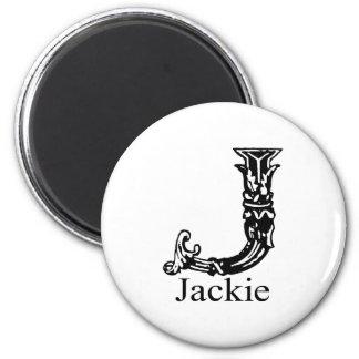 Fancy Monogram: Jackie 2 Inch Round Magnet
