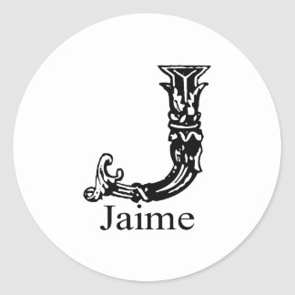 Fancy Monogram: Jaime Classic Round Sticker