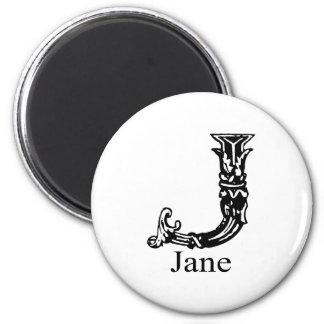 Fancy Monogram: Jane 2 Inch Round Magnet