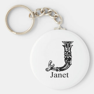 Fancy Monogram: Janet Basic Round Button Keychain