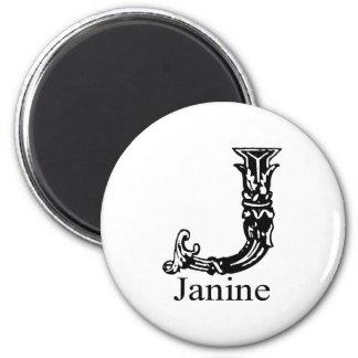 Fancy Monogram: Janine 2 Inch Round Magnet