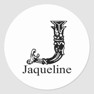 Fancy Monogram: Jaqueline Classic Round Sticker