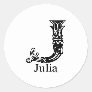 Fancy Monogram: Julia Classic Round Sticker