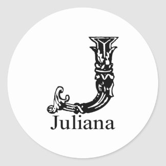 Fancy Monogram: Juliana Classic Round Sticker