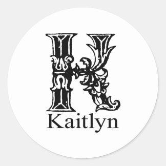 Fancy Monogram: Kaitlyn Classic Round Sticker