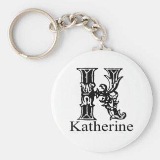 Fancy Monogram: Katherine Basic Round Button Keychain
