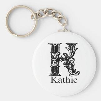 Fancy Monogram: Kathie Basic Round Button Keychain