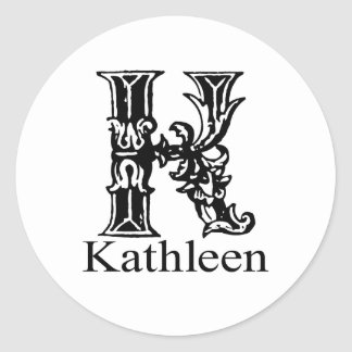 Fancy Monogram: Kathleen Classic Round Sticker