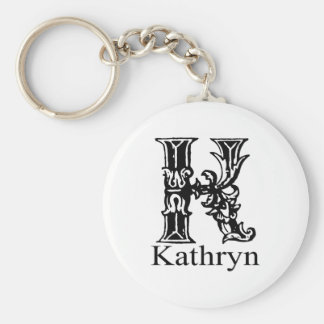 Fancy Monogram: Kathryn Basic Round Button Keychain