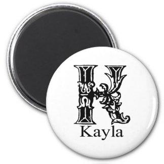 Fancy Monogram: Kayla 2 Inch Round Magnet