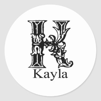 Fancy Monogram: Kayla Classic Round Sticker
