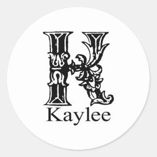 Fancy Monogram: Kaylee Classic Round Sticker