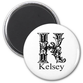 Fancy Monogram: Kelsey 2 Inch Round Magnet