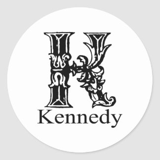 Fancy Monogram: Kennedy Classic Round Sticker
