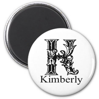 Fancy Monogram: Kimberly 2 Inch Round Magnet