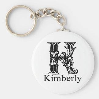 Fancy Monogram: Kimberly Basic Round Button Keychain