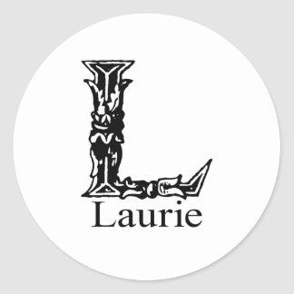 Fancy Monogram: Laurie Classic Round Sticker
