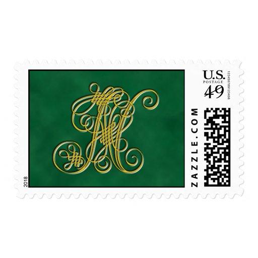 Fancy Monogram Letter N Postage