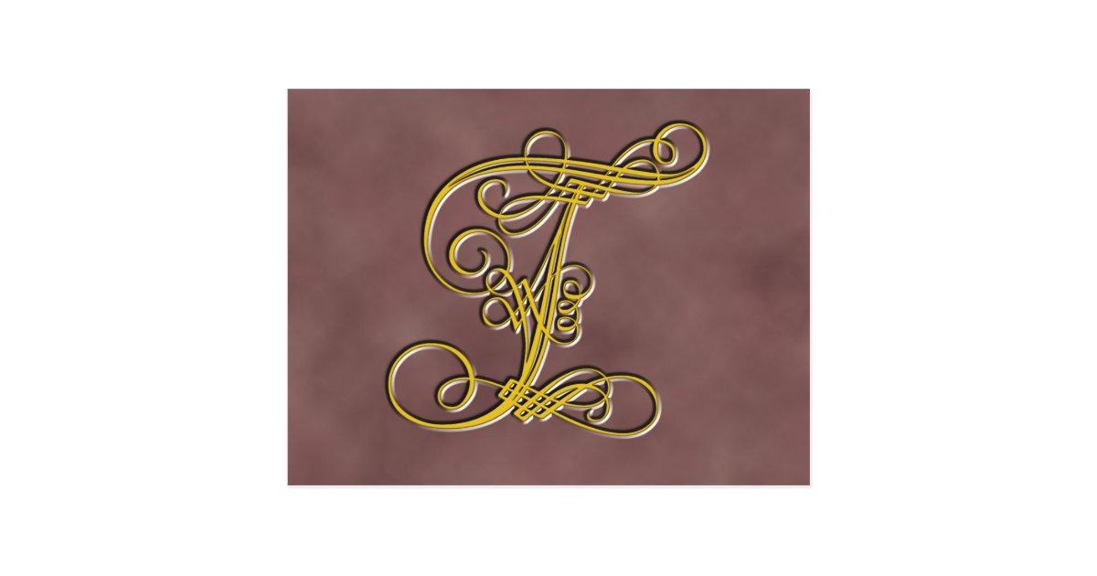 Fancy Monogram Letter T Postcard Zazzle Com