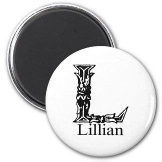 Fancy Monogram: Lillian 2 Inch Round Magnet