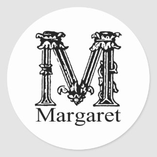 Fancy Monogram: Margaret Classic Round Sticker