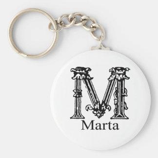 Fancy Monogram: Marta Basic Round Button Keychain
