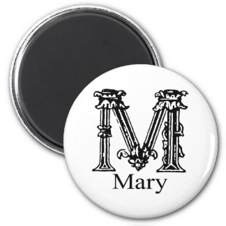 Fancy Monogram: Mary 2 Inch Round Magnet