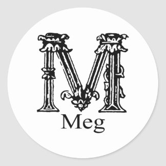 Fancy Monogram: Meg Classic Round Sticker