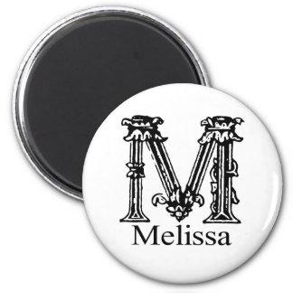 Fancy Monogram: Melissa 2 Inch Round Magnet