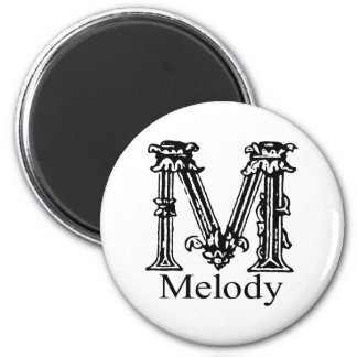 Fancy Monogram: Melody 2 Inch Round Magnet