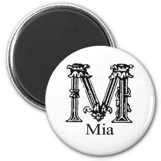 Fancy Monogram: Mia 2 Inch Round Magnet