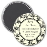 Fancy Monogram Save the Date Magnet off white