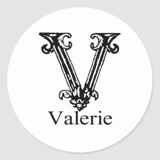 Fancy Monogram: Valerie Classic Round Sticker