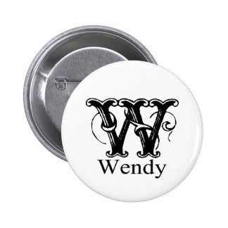 Fancy Monogram: Wendy Pinback Buttons