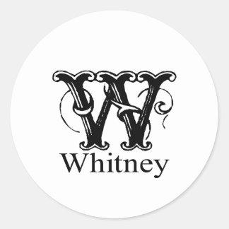 Fancy Monogram: Whitney Classic Round Sticker