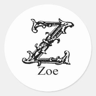 Fancy Monogram: Zoe Round Stickers