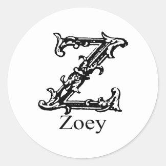 Fancy Monogram: Zoey Round Sticker