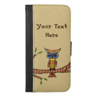 Fancy Multi Colored Owl on Tree Branch with Leaves iPhone 6/6s Plus Wallet Case