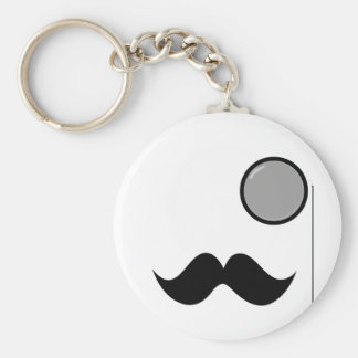 Fancy Mustache & Monocle Key Chains