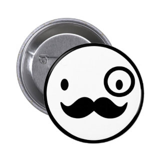 fancy mustchace smiley face button