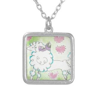 Fancy Nancy Poodle Square Pendant Necklace