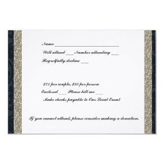 Fancy Navy and Silver Event RSVP Card