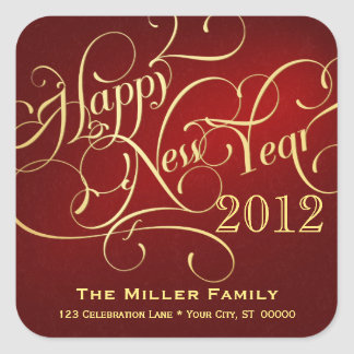 Fancy New Year Address Stickers - Square