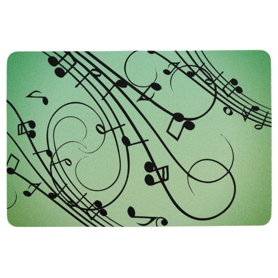 Fancy Notes Green Music Design Floor Mat